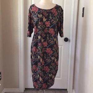 LuLaRoe Julia Dress Pink Black Floral 3XL